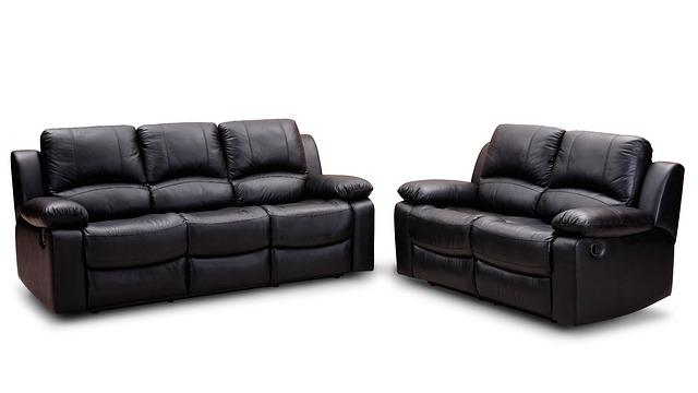 černá kožená sedačka, křeslo