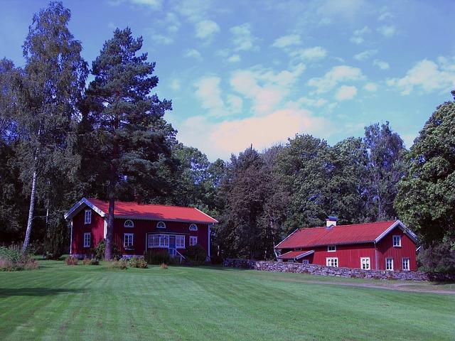 červené domy, krajina
