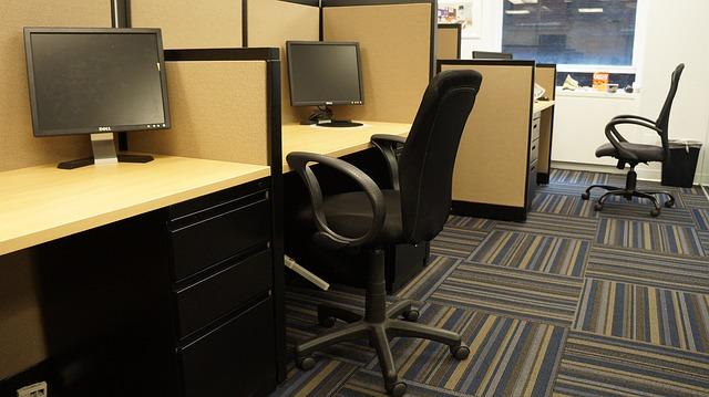 počítače, židle, kancelář
